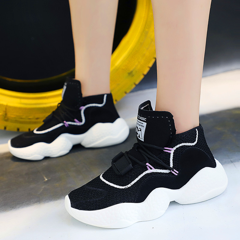 2019 Casual Shoes Women New Design Women Sneakers Fashion Leisure Shoes Designer High Top Shoes Woman Trainer Flat Sneaker Shoes
