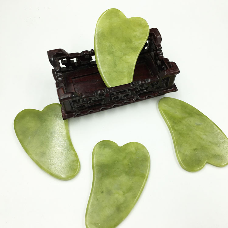 1pcs Natural Jade Guasha Board Scraching Facial Eyes Scraping Gua Sha SPA Massage Tool Health Care BeautyAcupoints Slimming