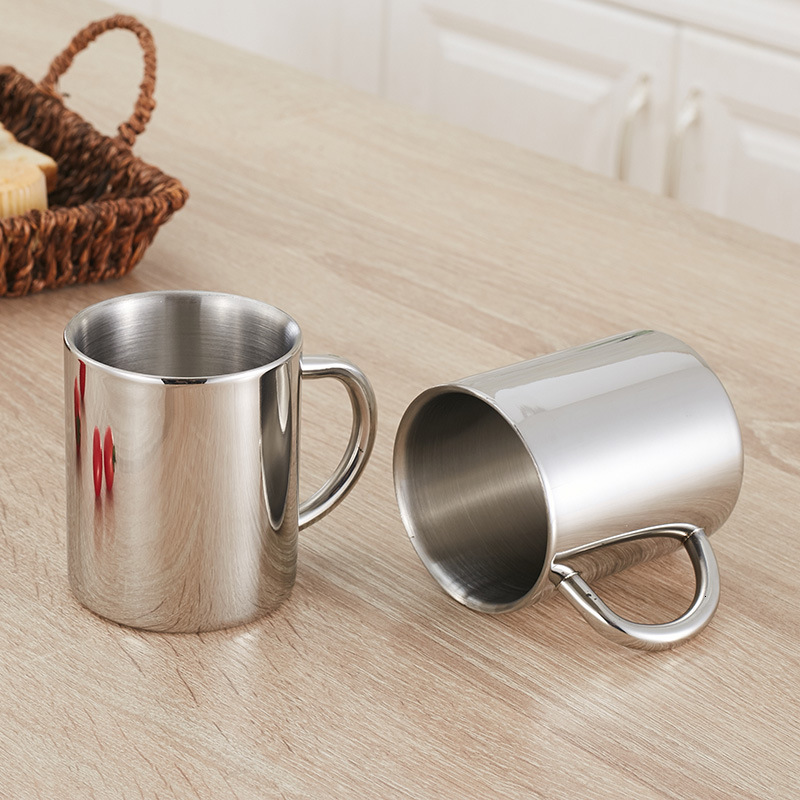 304 Stainless Steel Glass Doubleb Wall Coffee Cup Creative Breakfast Milk Juice Drink Cup Outdoors Heat Insulation Water Cup