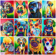 Huacan Pittura Diamante Piazza Piena di Cane Colourful 5D FAI DA TE Diamante Ricamo Mosaico Animal Art Kit Decorazioni Per La Casa(China)