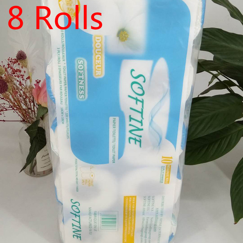 8 Pcs Three Layer Toilet Tissue Home Bath Toilet Roll Paper Silky Smooth Soft Toilet Paper Skin-friendly Paper Towels New 2020