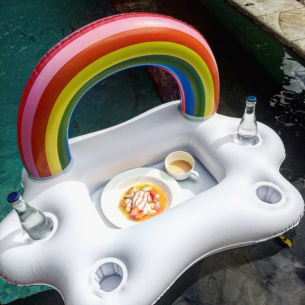 Summer Pool  Party Bucket Rainbow Cloud Cup Holder Inflatable Pool Float Beer Drinking Cooler Table Bar Tray Beach Swimming Ring