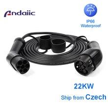 Andaiic Ev Oplaadkabel 32A 22KW Drie Fase Type 2 Elektrische Voertuig Voor Car Charger Station Vrouw Naar Man Plug