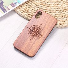 Compass Travel Spirit Heart Engraved Wood Phone Case Coque Funda For iPhone 6 6S 6Plus 7 7Plus 8 8Plus XR X XS Max 11 Pro Max(China)