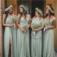 Bridesmaid Dress Sage Wedding Green-Series Party-Gowns A-Line Off-The-Shoulder Pleat