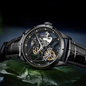 Image 5 - スーパー新モデルオリジナルトゥールビヨンビジネスメンズ腕時計トップブランドの高級スケルトンサファイア時計男性レロジオ masculino