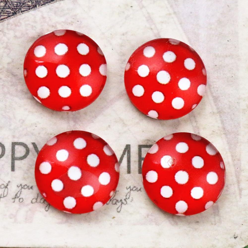 New Fashion 12mm 16mm 20mm Red Dot Handmade Pattern Glass Cabochons Flatback Photo Dome Cameo Pendant Settings