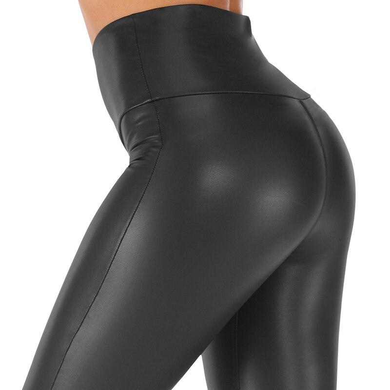 S-5XL Plus Size Leather Leggings Women High Waist Black Leggings PU Leather Legging Fashion Leather Pants Women