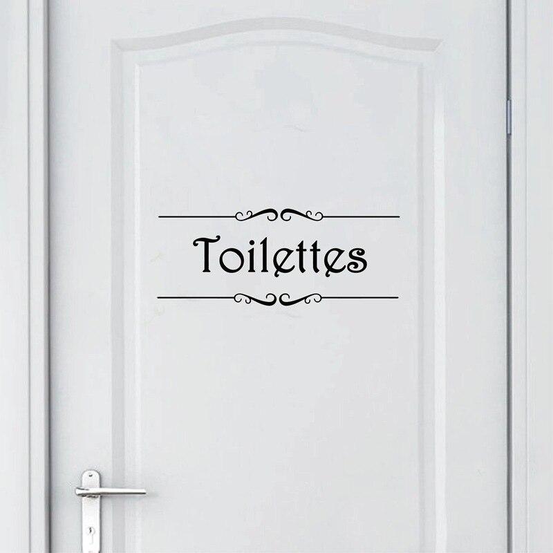 Porte Salle de bain et Toilettes Wall Sticker French Bathroom Toilet Door Mural Decals Vinyl Wall Sticker Home Decor