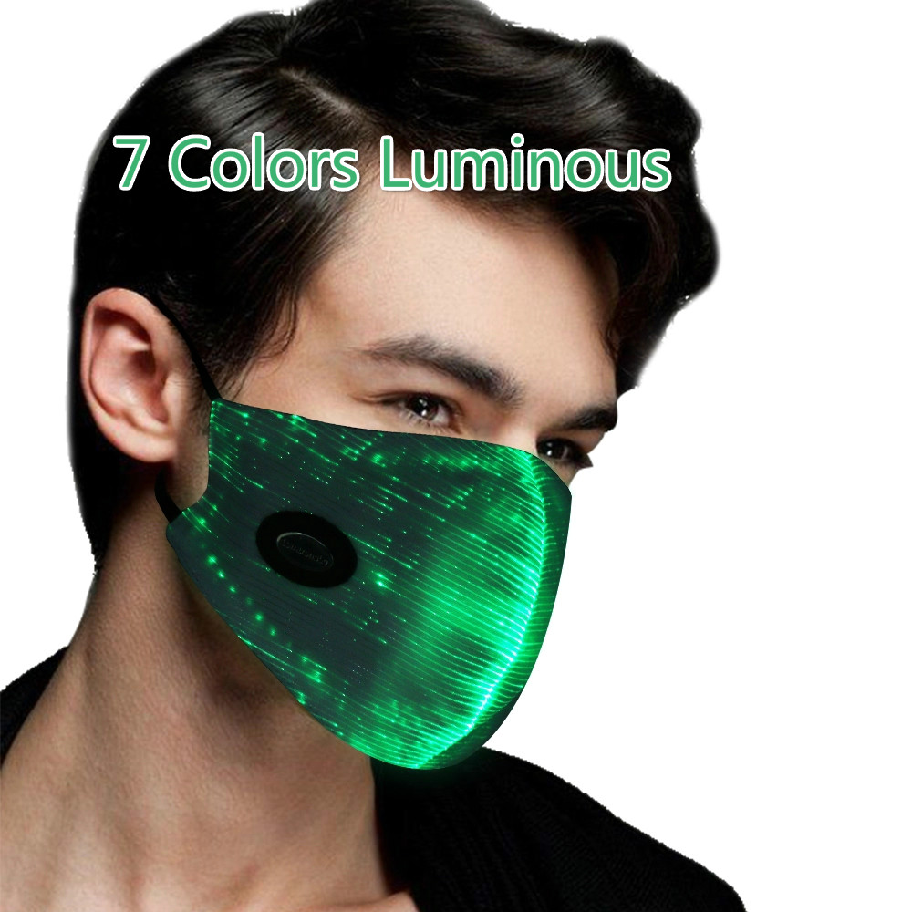 7 Colors Luminous Light For Men Women Rave Mask Music Party Christmas Halloween Light Up Mask Saful LED Flashing Mask