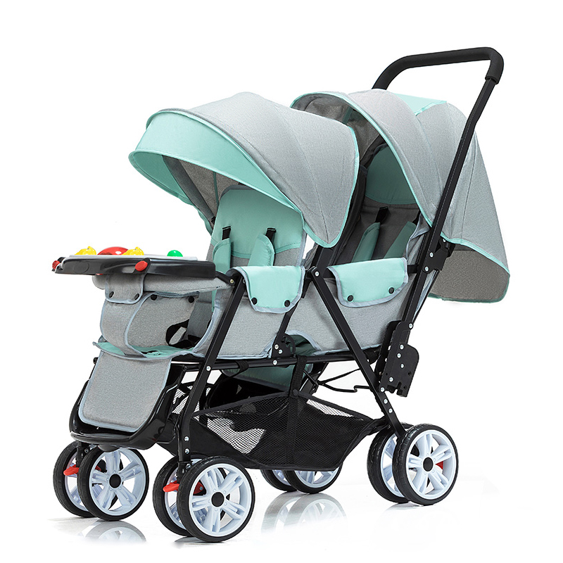Light Weight Twin Baby StrollerCan Sit And Lie Baby Cart Folding Multi-tuber Trolley Double Stroller Baby Pram With Music Plate