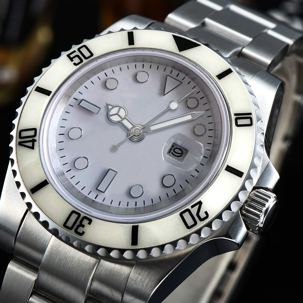 Automatic Watch 40mm White Dial Ceramics Bezel Silver Stainless Steel Case Folding Buckle Free Shipping EX-02