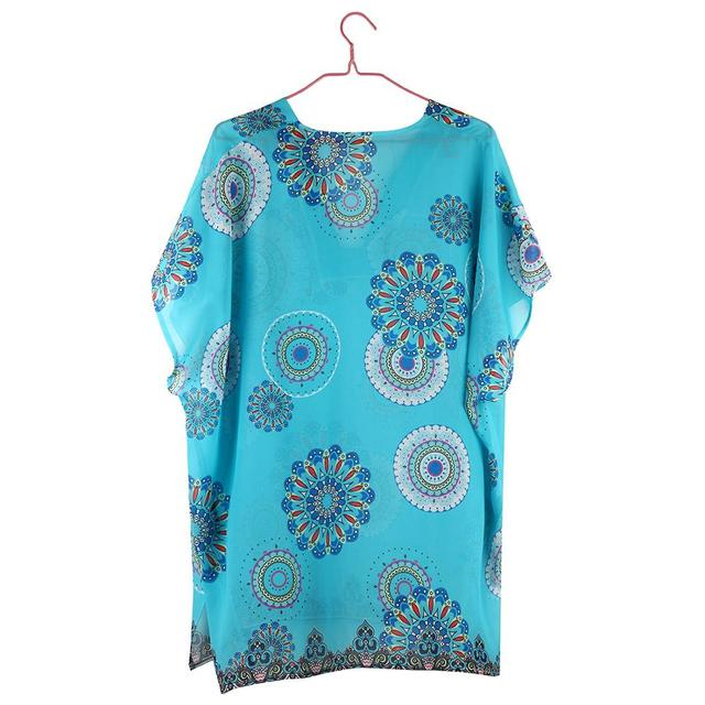 Beach Cover Up vintage bohemian beach dress woman Chiffon Tunic dress floral printed swimsuit cover up Summer blue bathing suit 2