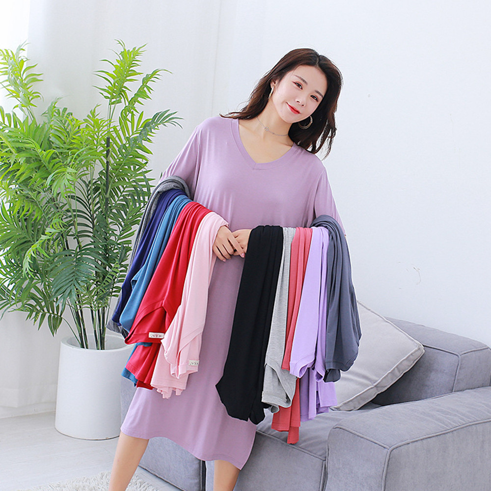 Fdfklak Summer New Sleepwear Modal Short-Sleeved   Sleepshirts   Loose   Nightgowns   Women Night Gown Sexy Sleeping Dress 11 Styles
