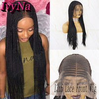IvyNa 13x6 Synthetic Lace Front Wigs Micro Braided Heat Resistant Synthetic Hair Middle Part Box Braided Wigs with Baby Hair