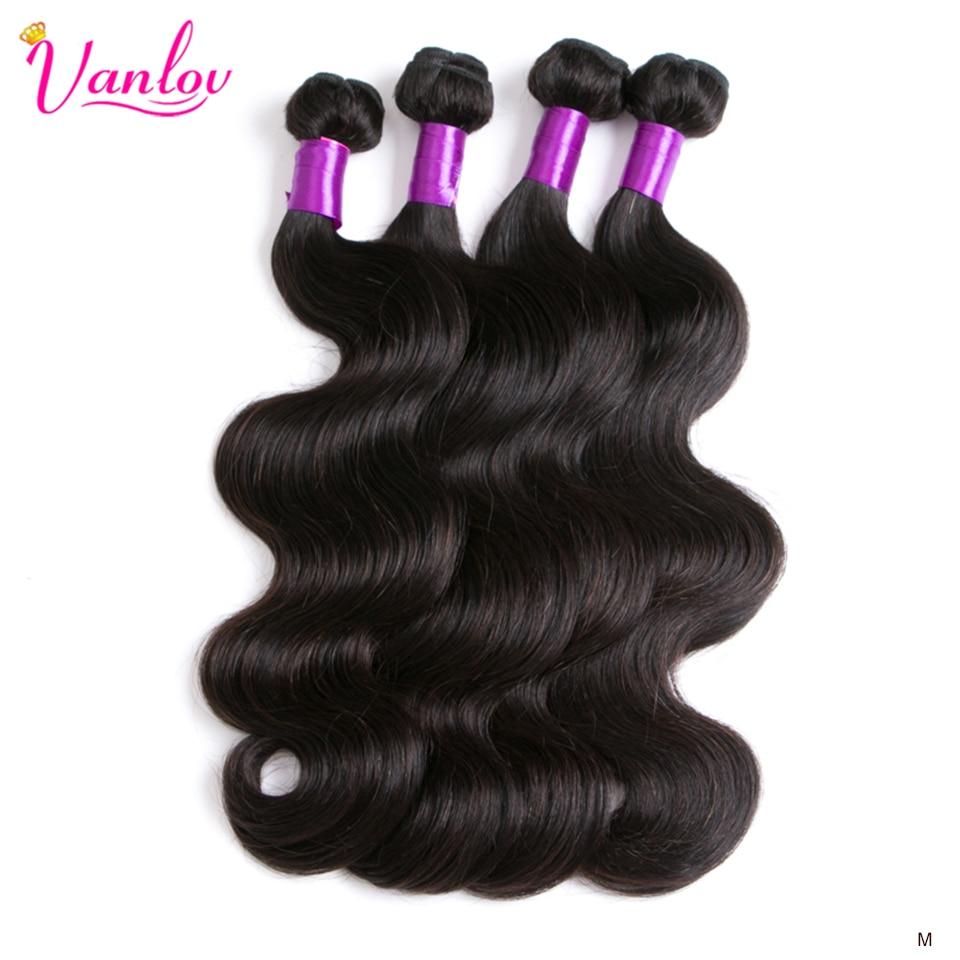 Vanlov indyjski włosy typu Body Wave wiązki ludzkie włosy splot wiązki 3/4 sztuk naturalny czarny i kruczoczarny Remy doczepy z ludzkich włosów