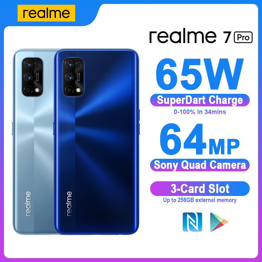 Realme 7 Pro Smartphones NFC Android Snapgragon 720G 8GB 128GB 64MP Smart Mobile Phones 65W Fast Charge 4500mAh Game Cell phone