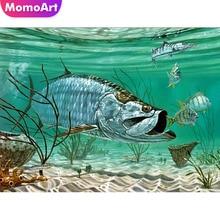 MomoArt Diamond Painting Animal Cross Stitch Art Full 5D Embroidery Mosaic Fish Sea Hobby Home Decoration