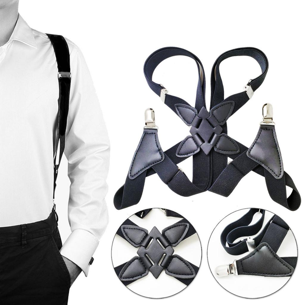 Mens Braces Heavy Duty Side Clips X-Back Belt Elastic Suspenders Men Trouser Braces Suspenders X Shape With Strong Metal Clips