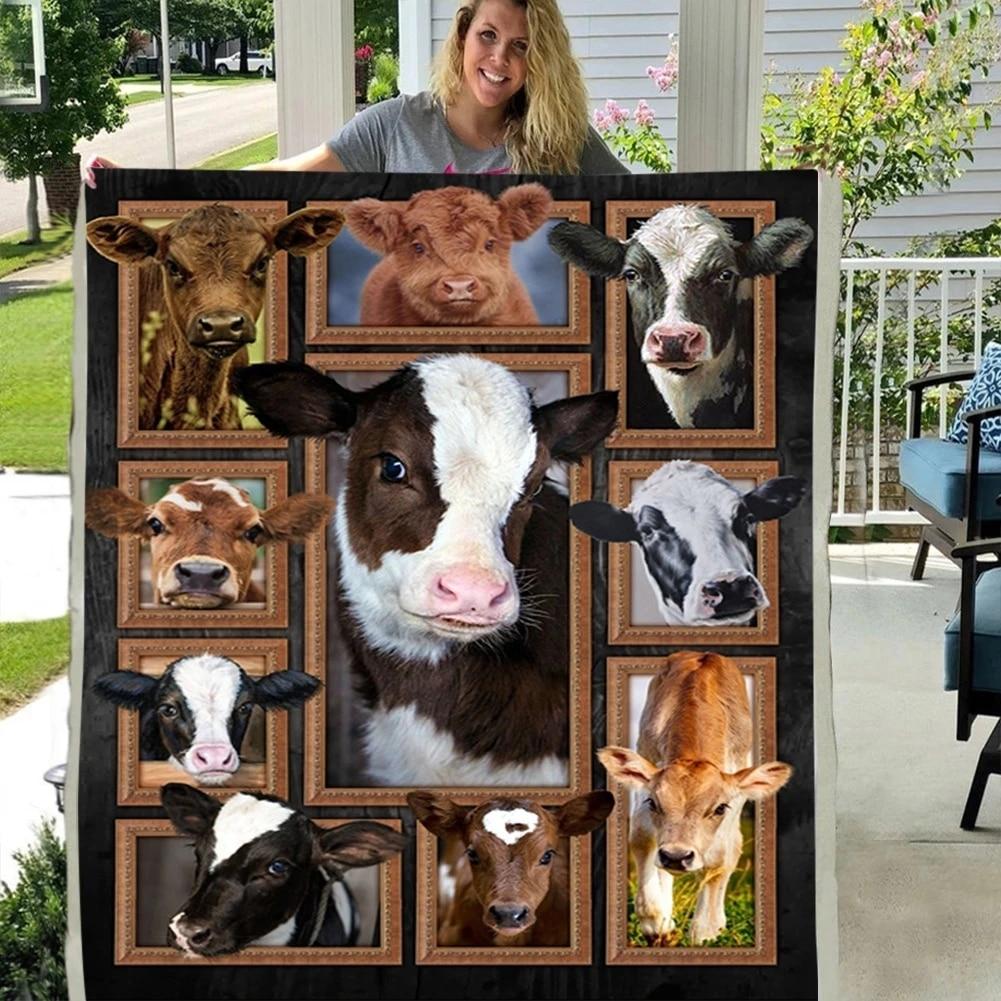 CUTE CARTOON PATCHWORK ANIMALS COW 3DCUSTOM SHERPA FLEECE PHOTO BLANKET FAN GIFT