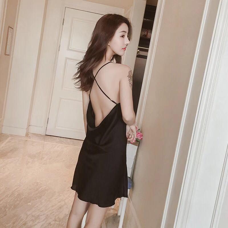Sexy Backless Sling Nightdress Female Simulation Silk Skirt Sexy Home Dress Summer Pyjamas Women Thin Sleepwear