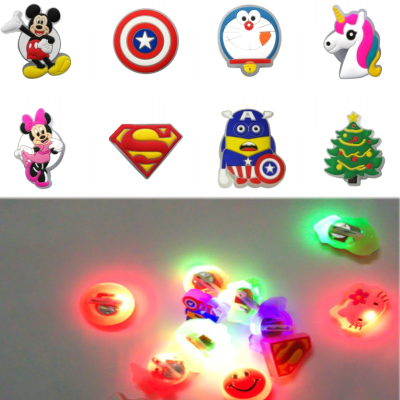 1pcs Avenger Logo LED Pins Mickey Lighted Brooches Unicorns Badges Clothes Hat Shoes Decor Bag Part Accessories Kids Gift