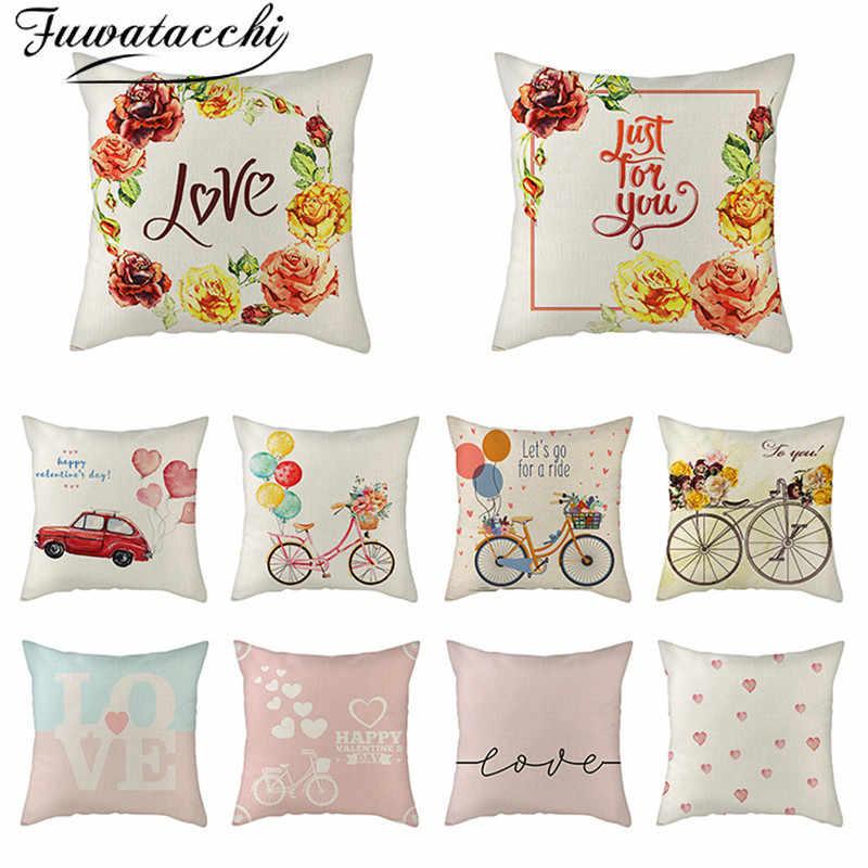 Fuwatacchi pur lin housse de coussin Rose fleur taie d'oreiller pour la maison chaise canapé oreillers décoratifs peinture à l'huile fleurs oreillers