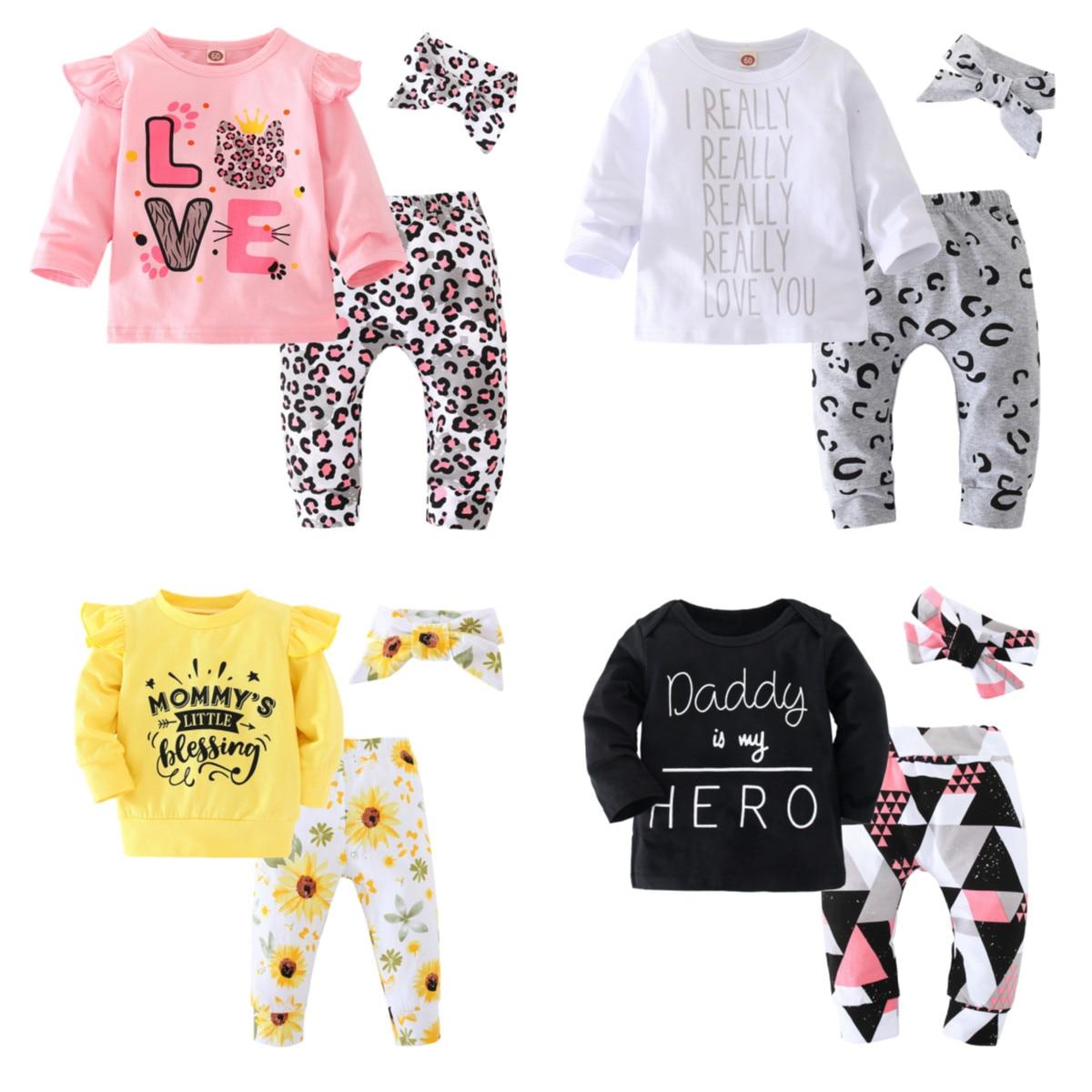Outono menina roupa do bebê conjuntos de manga Longa de Algodão T camisa e Calças e Cabeça 3 pçs/set Recém-nascidos roupas Infantis Outfits