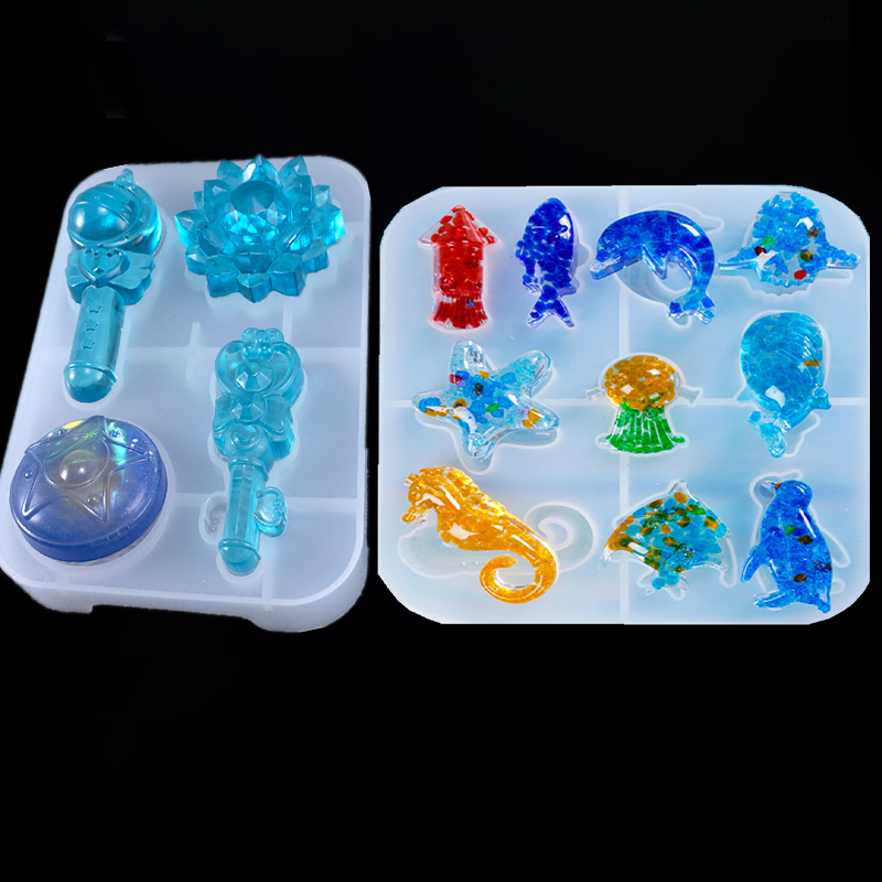 SNASAN Resin Silicone Mold Marine Animals Magic Wand For Jewelry Making DIY Tool Crafts UV Epoxy Resin Molds Silicone Mould