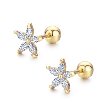 7Colors Cute Five Petals CZ Stones Flower Screw Back Stud Earrings For Women Baby Kids Girls.jpg 350x350 - 7Colors Cute Five Petals CZ Stones Flower Screw Back Stud Earrings For Women Baby Kids Girls Gold Color Piercing Jewelry Aros