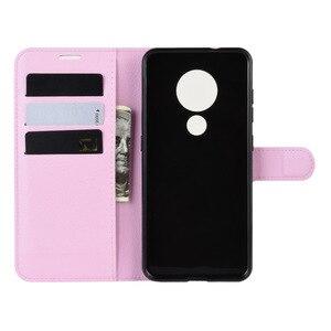 Image 4 - 50 unids/lote Litchi patrón Flip PU cuero billetera teléfono funda para Nokia 6,2 Lychee grano cubierta