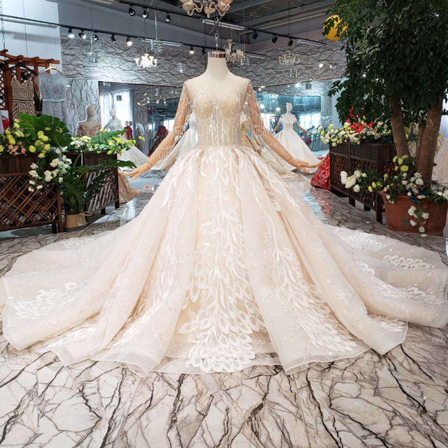 BGW HT566 ใหม่หรูหราแฟชั่นงานแต่งงานชุด Royal Train Handmade คุณภาพสูง Tulle พู่ชุดบอลชุดแต่งงานชุด 2020