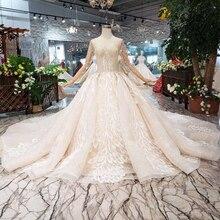 BGW HT566 vestido de novia de lujo de nueva moda con cola real hecho a mano de alta calidad largo tul Bola de borla vestido de boda 2020