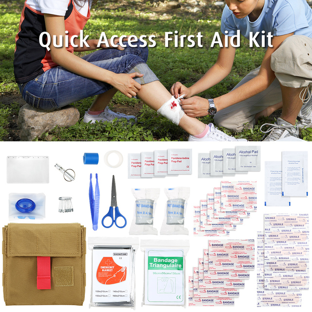 Quick Access First Aid Kit Tactical Molle Waist Pouch Outdoor Survival Tool Set Essential Aid Supplies Included