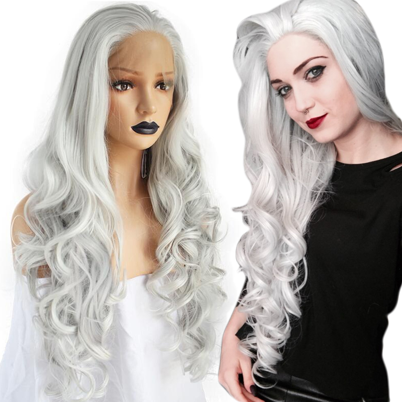 Anogol High Temperature Fiber Grey Hair Wigs Long Natural Body Wave Gray White Silver Synthetic Lace Front Wig For Women African