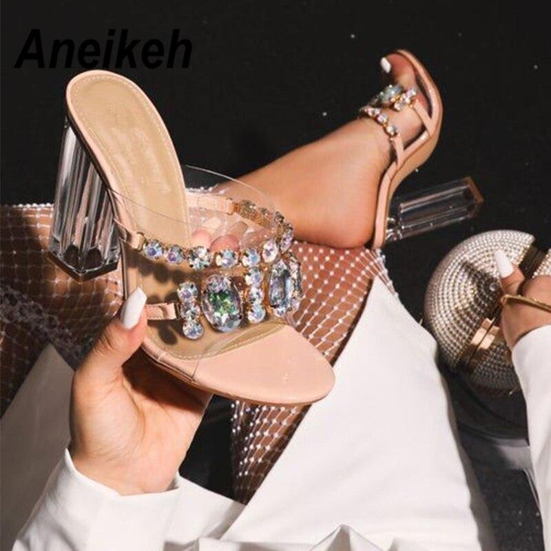 Aneikeh Fashion 2020 Summer Rhinestone PVC Sandals Women Shoes Peep Toe Stilettos Perspex High Heels Sandals Summer Party PUMPS