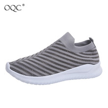 Купить с кэшбэком OQC Women Sneakers Spring Autumn Flat Slip On Rhinestone Sneakers Female Light Mesh Breathable Casual Platform Sports Shoes D30