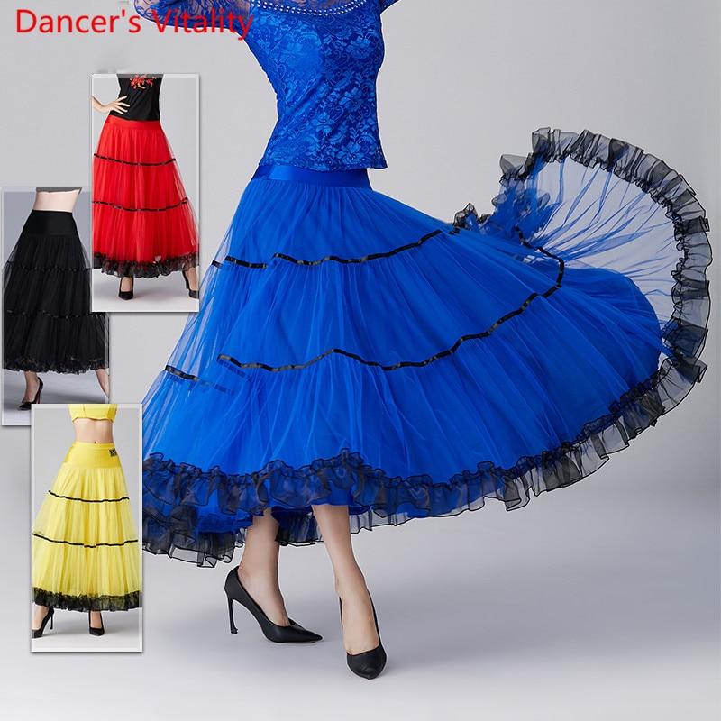 New Modern Dance Mesh Big Hemlines Long Skirt Ballroom National Standard Waltz Jazz Dancing Competition Performance Outfits