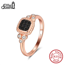 Effie Queen 925 Sterling Silver Finger Ring Rose Gold Color AAAA Zircon with Silver & Black Crystal Stone Jewelry Gift DSR173