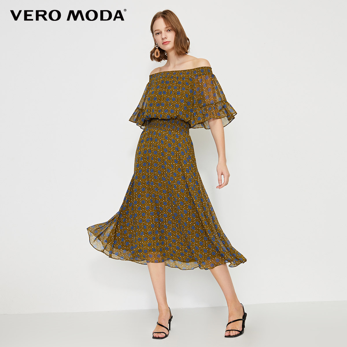 Vero Moda Women's Printed Off-the-shoulder Chiffon Dress | 31926Z554