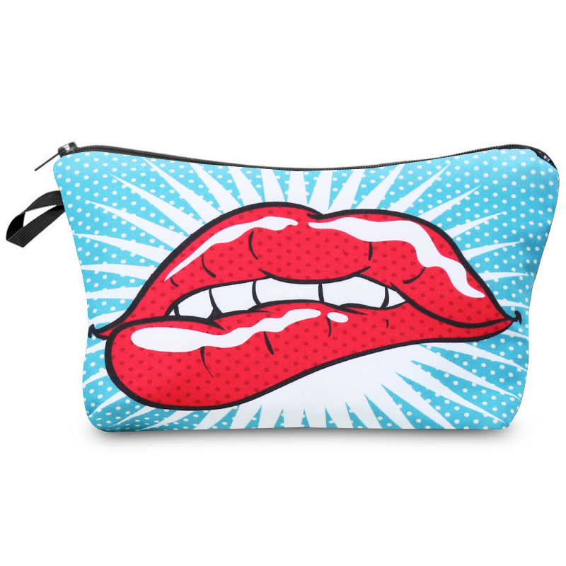 Cosmetic Bag Fashion Women Brand Makeup Bags Cute Small Bag Headset Bag Small Candy Cosmetic Bags 3D Digital Printing  Big Mouth