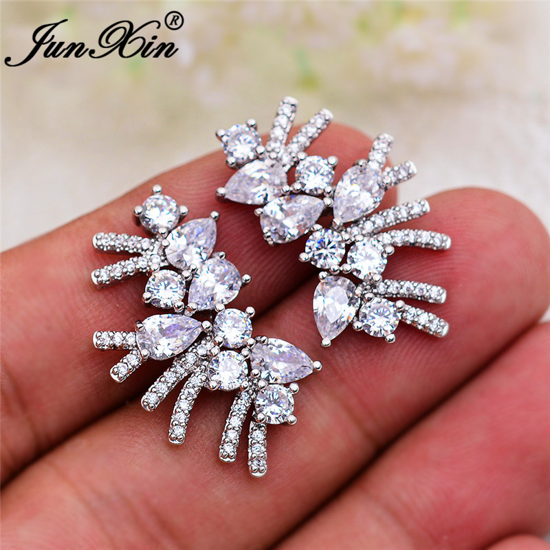 Luxury Geometric Crystal Stone Earrings White Gold Gold Color White Zircon Teardrop Tassel Stud Earrings For Women Wedding Gifts