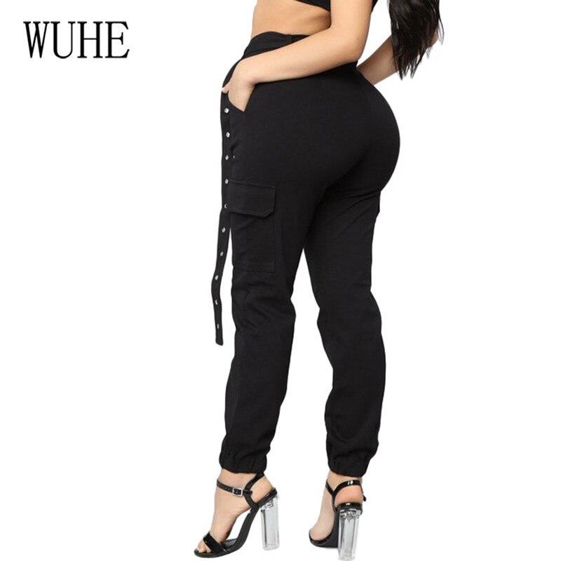 WUHE Korean Style Summer Casual Streetwear Cargo Pants Women Hot Selling Joggers Black High Waist Pockets Belt Female Trousers in Pants amp Capris from Women 39 s Clothing