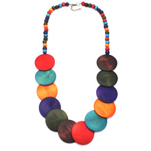 цена на Fashion Jewelry Beads Bohemian Women Statement Necklace Long Wooden Big Wood Multicolor Collar Necklace Pendant Necklaces Trendy