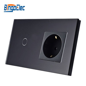 Image 2 - Bingoelec Hot Sale 1Gang 1Way Touch Switch With EU Type Socket,16A Germany Socket, Crystal Glass Panel Light Switch 86*157mm