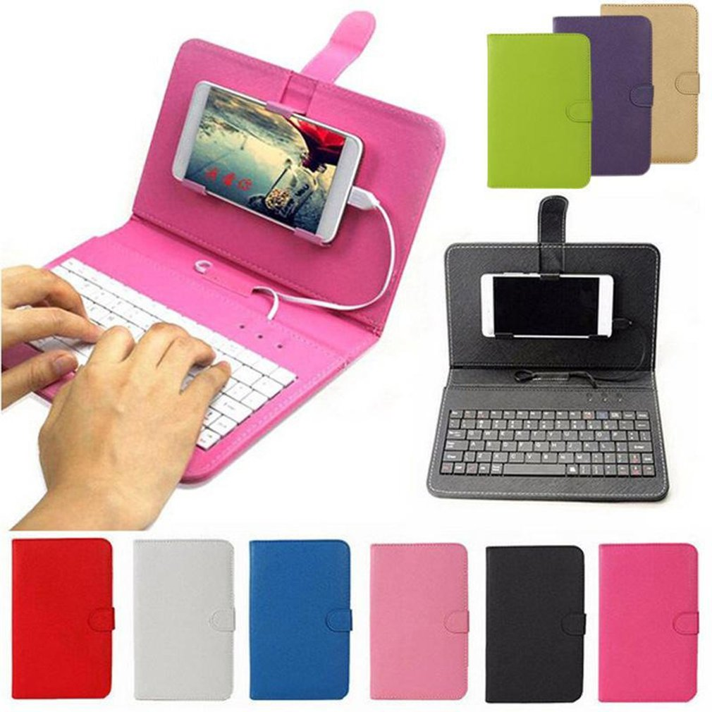 Mobile Phone Wireless Keyboard Holster Wireless Three System Universal Leather Case For Apple For Android 4.5-6.8 Inch enlarge