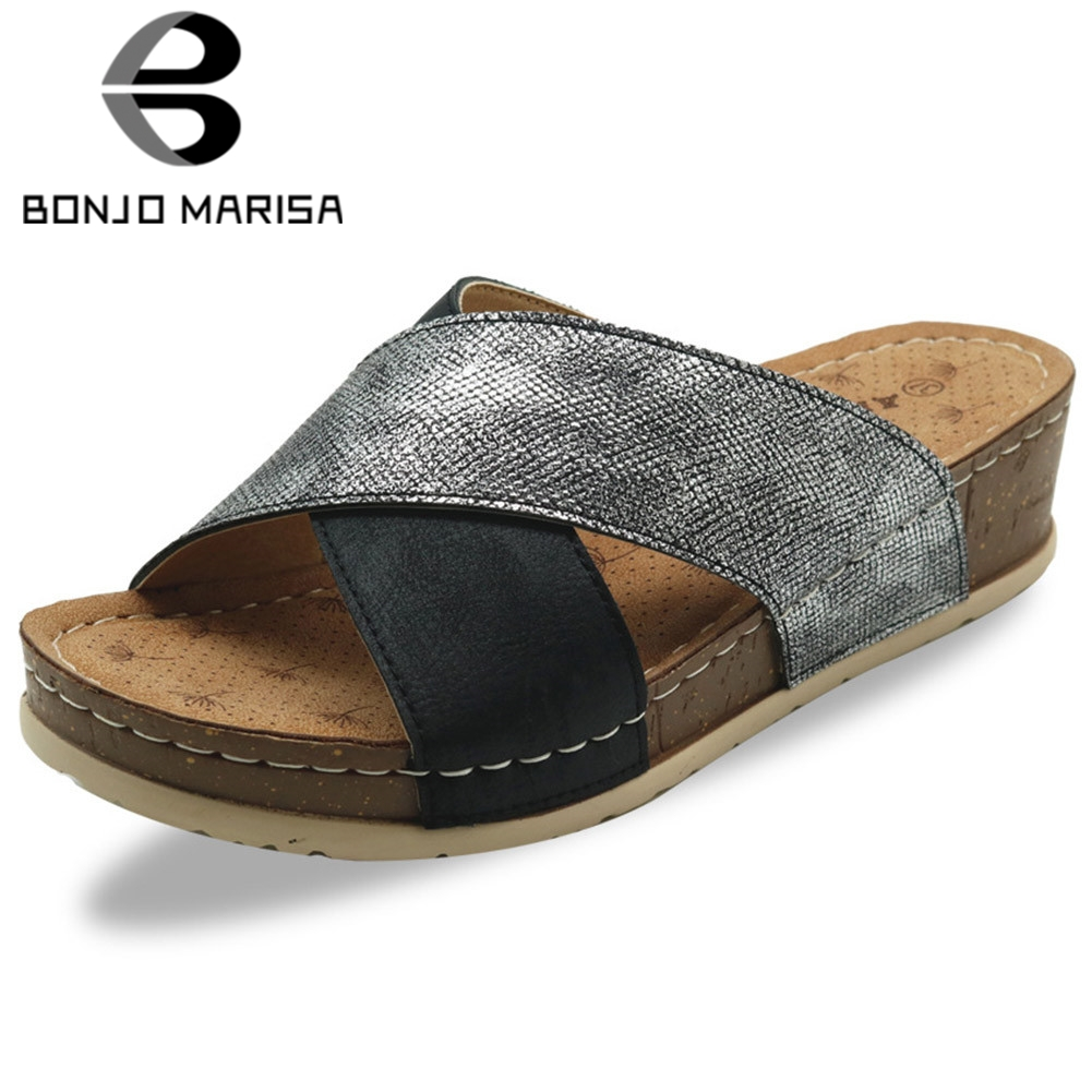 BONJOMARISA Female Open Toe Slip On Sewing Slip On Mixed Color Casual Outdoor Slippers <font><b>Women</b></font> 2020 Handmade <font><b>Shoes</b></font> Woman image