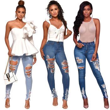 цена Echoine Denim Ripped Jeans Woman Jeans Mujer Womens Jeans Stretch Femme Jeans Pants Womens Trousers Vaqueros Mujer Plus Size онлайн в 2017 году