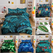 Tropical Leaves Bedding Set Plants Quilt Duvet Cover Queen King Size And Pillowcase Bedclothes For Bedroom
