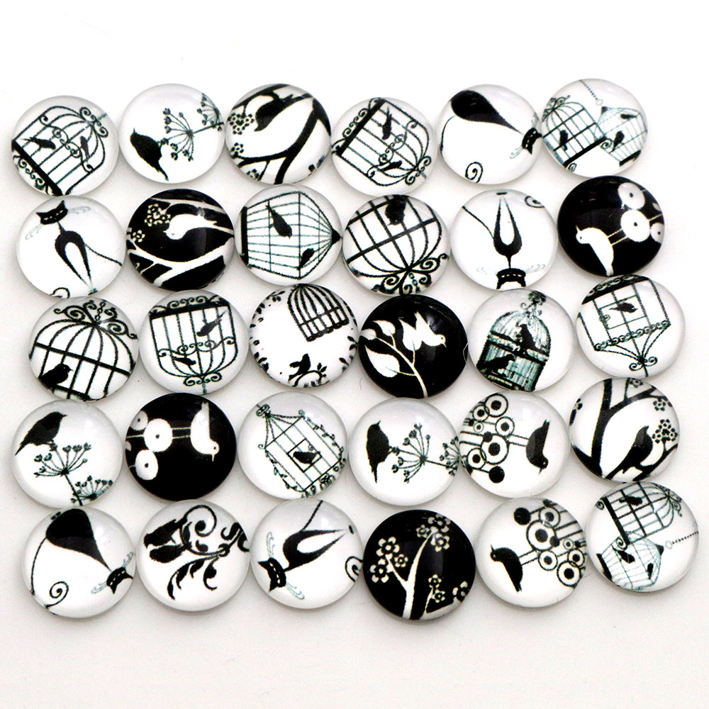Hot Sale 50pcs 12mm  Mixed Handmade Photo Glass Cabochons  (D5-05)